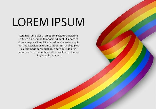 Waving ribbon with flag of lgbt pride.