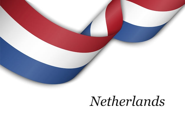 Waving ribbon with flag of netherlands.