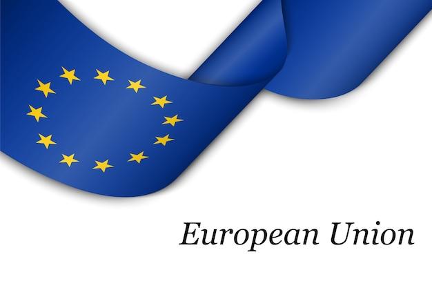 Размахивая лентой с флагом европейского союза.