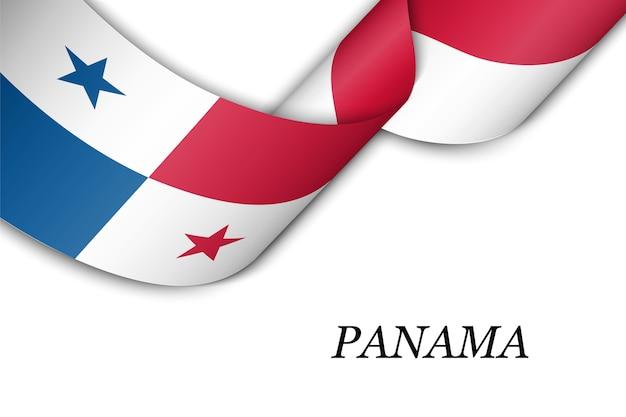 パナマの国旗とリボンを振っています。