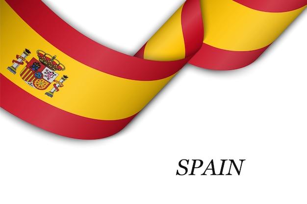 Размахивая лентой с флагом испании.