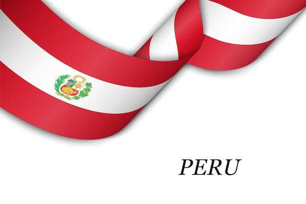 Waving ribbon with flag of peru.