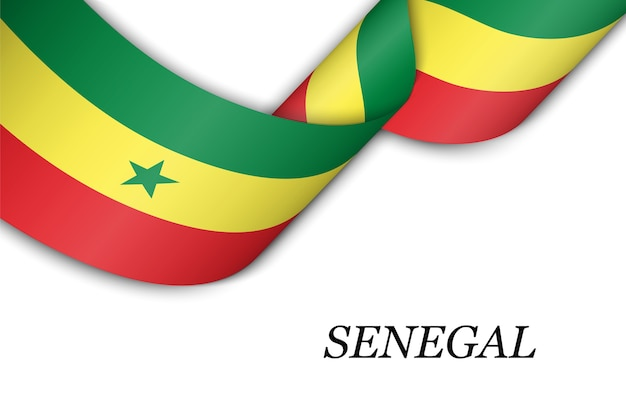 Waving ribbon with flag of senegal.