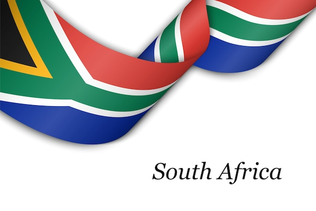 Waving ribbon with flag of south africa.