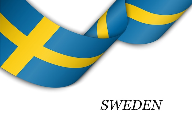 Waving ribbon with flag of sweden.