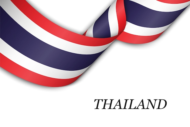 Waving ribbon with flag of thailand.