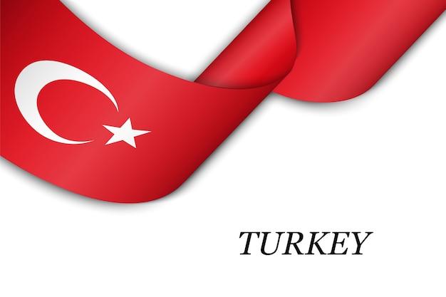 Waving ribbon with flag of turkey.