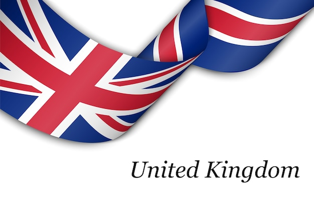Waving ribbon with flag of united kingdom.
