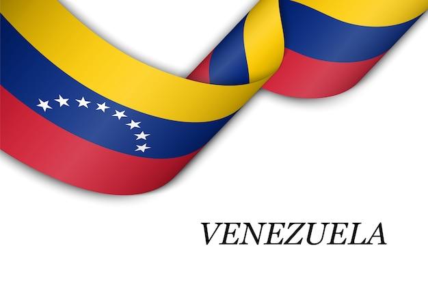 Waving ribbon with flag of venezuela.