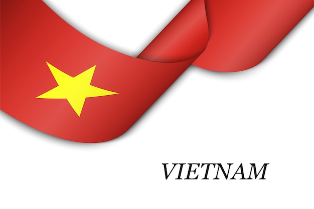 Waving ribbon with flag of vietnam.
