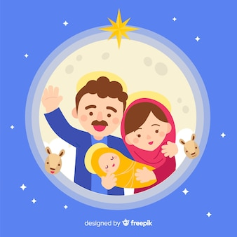 Waving saint joseph nativity portrait