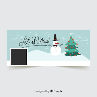 Waving snowman facebook cover