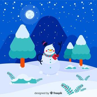 Waving snowman winter background