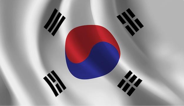 한국 국기 추상적 인 배경을 흔들며