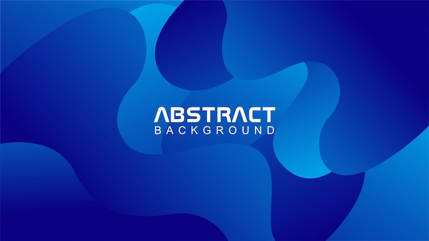 Wavy abstract background template in blue color