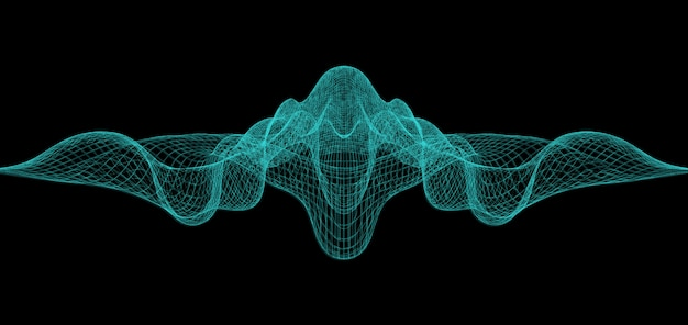 Wavy abstract background with wireframes.
