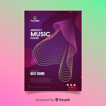 Wavy abstract music poster template