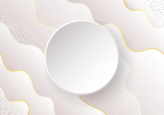 Волнистые абстрактные векторные фон с тенью и круглым знаменем.