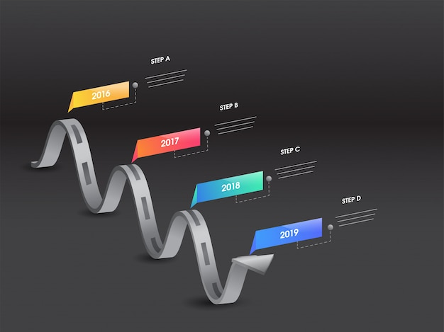 Wavy arrow style infographic element with four different years o