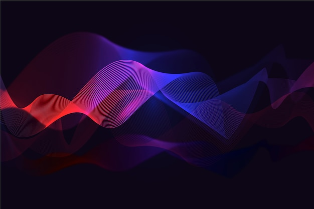Wavy background gradient red and blue