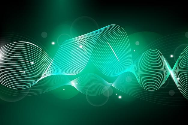 緑の色調で波状の背景