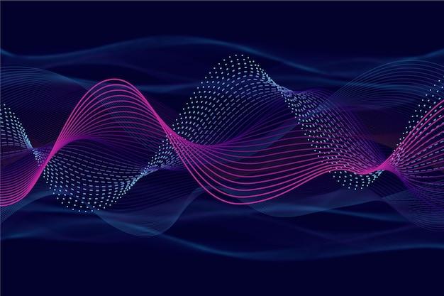 スパークリングバイオレットとブルーの波状の背景
