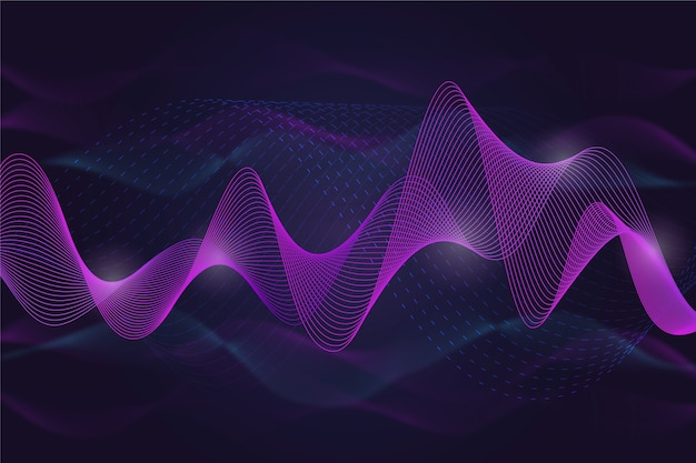 Wavy background violet and smokey lines