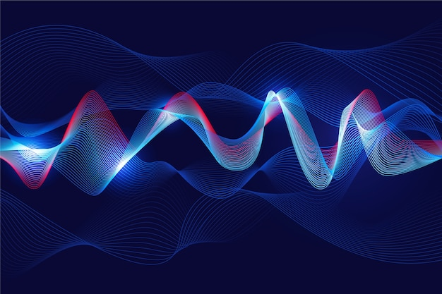 Wavy background white light in blue concept
