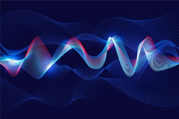 青いコンセプトで波状の背景白色光