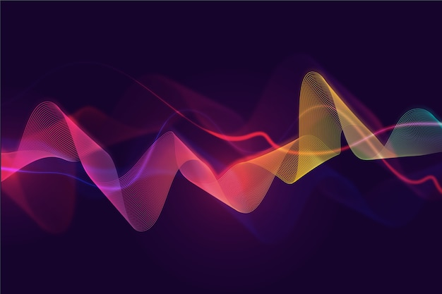 Wavy background with colourful curves