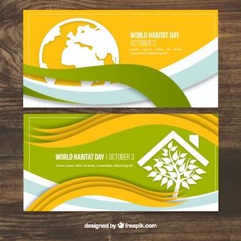 Banner ondulate del world habitat day