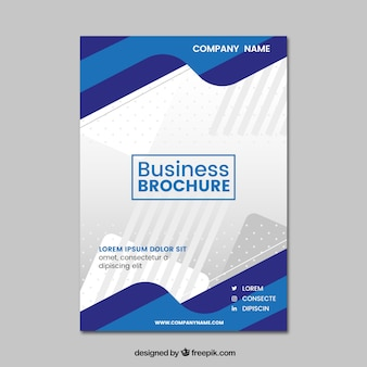 Wavy blue business brochure