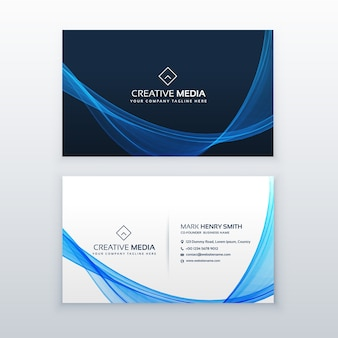 Wavy blue business card design