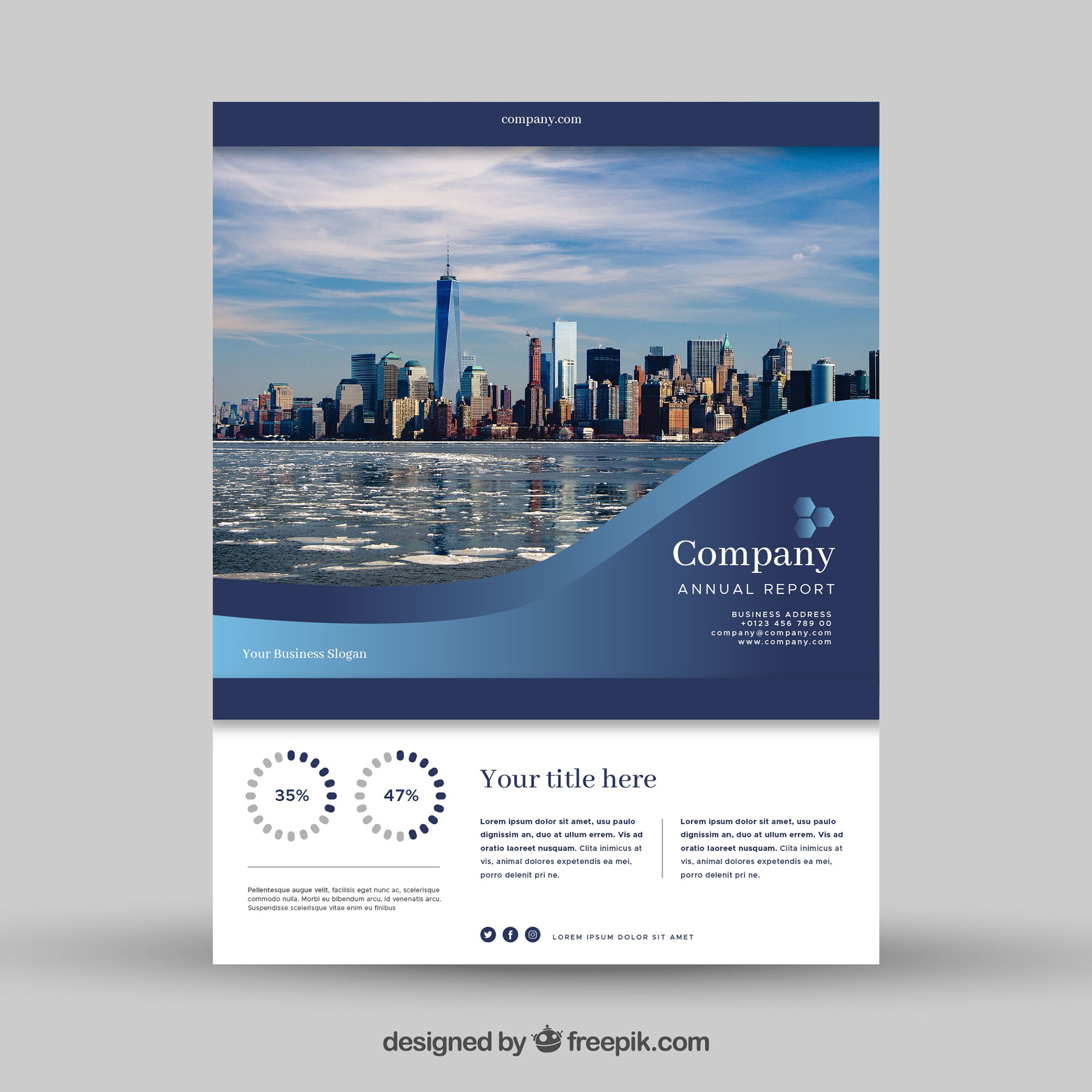 Wavy blue business flyer design