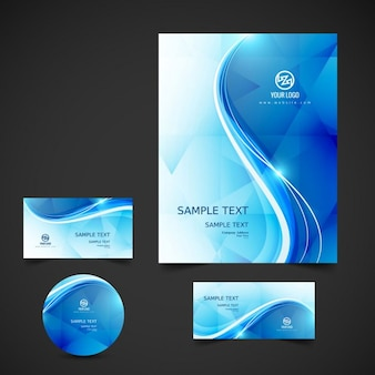 Wavy blue business stationery
