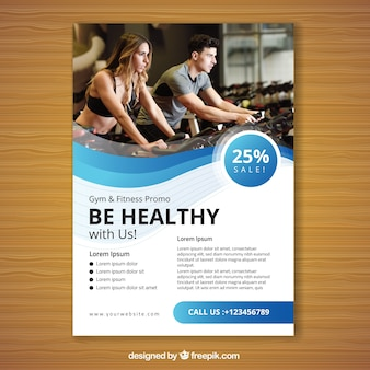 Wavy blue gym flyer template