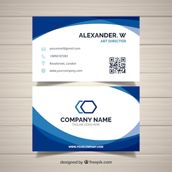 Wavy blue and white business card
