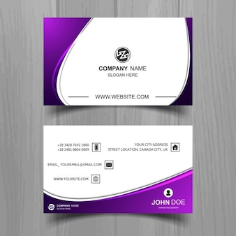 Wavy business card with purple details