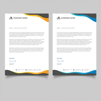 Wavy business letterhead templates design