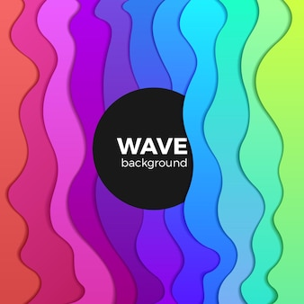 Wavy colorful background abstract design. rainbow waves creative template. Premium Vector