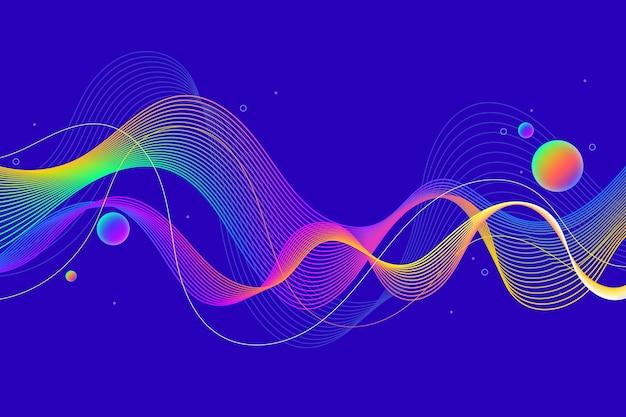 Волнистый цветной фон и абстрактные пузыри