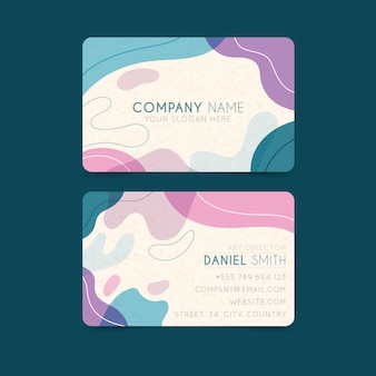 Wavy design painted business card template