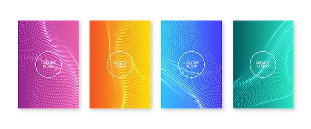 Wavy dots cover set. fluid gradients with blurry waves. abstract flyer design. modern liquid color poster collection.