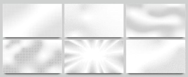 물결 모양의 도트 패턴, 꼬인 점선 패턴 및 팝 아트 또는 만화 질감 배경 프리미엄 벡터