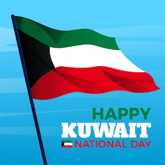 Wavy flag flat design kuwait national day