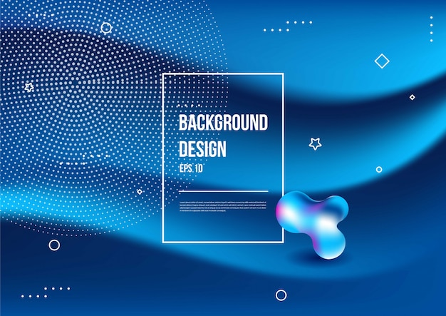 Wavy geometric with fluid  background. trendy gradient shapes composition