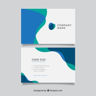 Wavy green and blue business card