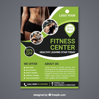 Wavy green gym flyer template with image