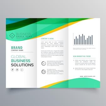 Wavy green trifold business brochure vector design