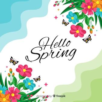 Wavy hello spring background